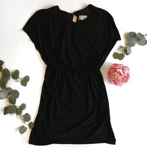 Black dress with ruched waist